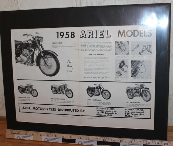 1958 Ariel Motorcycles 16'' x 20'' Matted Vintage Print Ad Art #5712amot05m