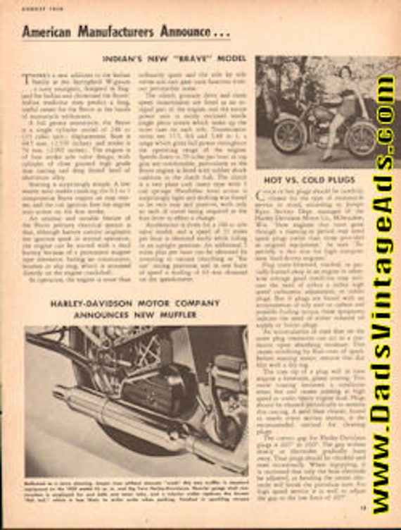 1950 Indian's New ''Brave'' Model 1-Page Article #e50ha08