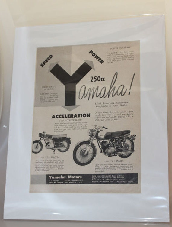 1961 Yamaha 250cc YD-2 Electra & YDS Sports 11'' x 14'' Matted Vintage Motorcycle Ad Art #e61da02m