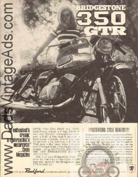 1968 Bridgestone 350 GTR Vintage Motorcycle Ad #b6804a06