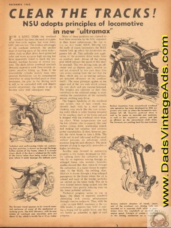 1952 NSU MAX adopts principles of locomotive in new ''ultramax'' 1-Page Article #e52la03
