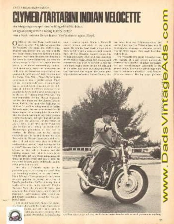 1969 Clymer / Tartarini Indian Velocette Motorcycle Road Impression 3-Pg Article #e69fa20
