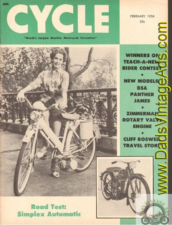 1956 February Cycle Motorcycle Magazine Back-Issue #5602cyc