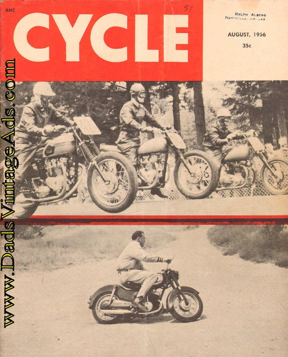 1956 August Cycle Motorcycle Magazine Back-Issue #5608cyc