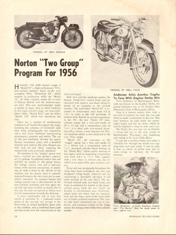 1955 Norton ''Two Group'' Program for 1956 1-Page Article #5512amot13