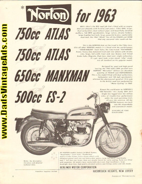 1963 Norton 500cc OHV ES-2 - ''Old Reliable'' Ad #6301amot05
