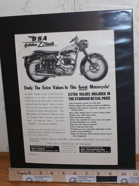 1955 BSA Golden Flash Motorcycle - 11'' x 14'' Matted Print Ad #5511amot07m
