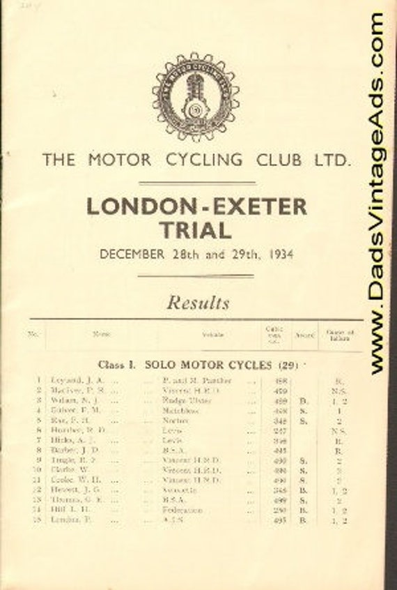1934 The Motor Cycling Club LTD London Exeter Trial Motorcycle Racing Results #mb210