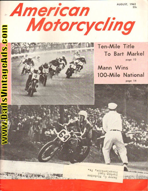 1962 August American Motorcycling Motorcycle Magazine Back-Issue #6208amot