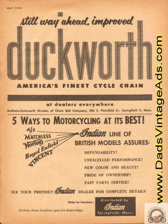 1953 Duckworth Motorcycle chain / Indian British Models Ad #e53ea09