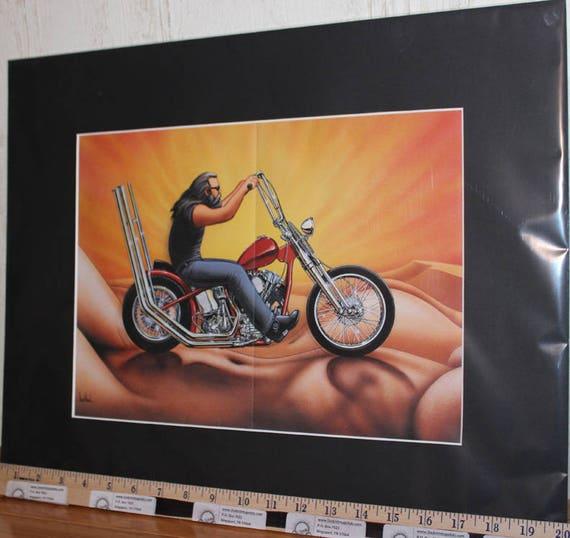 "David Mann ""Mountain Ride"" 16"" x 20"" Matted Motorcycle Biker Art #9306ezrxmb"