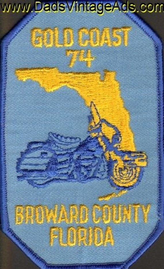 1974 Gold Coast Broward County Florida Motorcycle Touring Patch #mb152