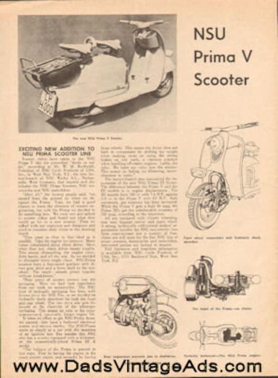 1960 NSU Prima V Scooter 1-Page Article #e60jaa04