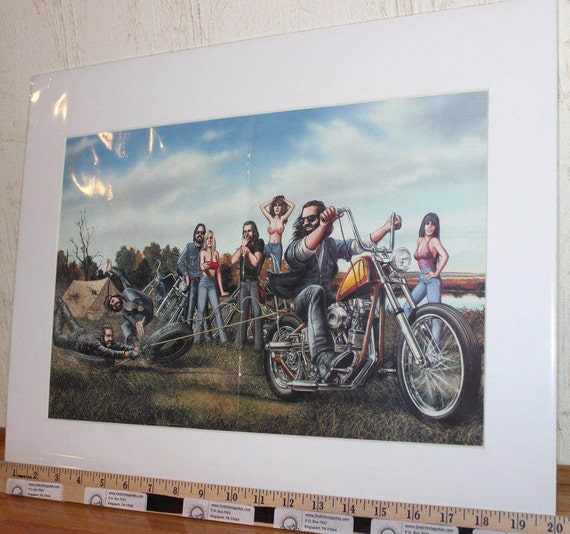 "David Mann ""Tire Pull"" 16"" x 20"" Matted Motorcycle Biker Art #8108ezrxm"