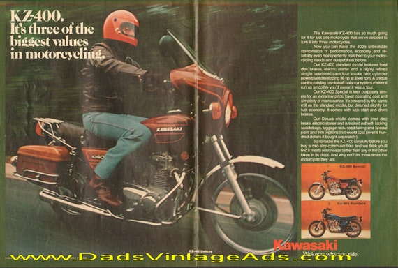 1977 Kawasaki KZ-400 Standard, Special & Deluxe Motorcycle 2-Page Ad #d77da09