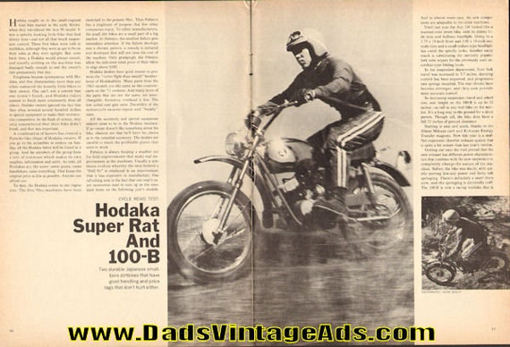 1971 Hodaka Super Rat and 100-B Road Test 5-Page Article #e71ga08