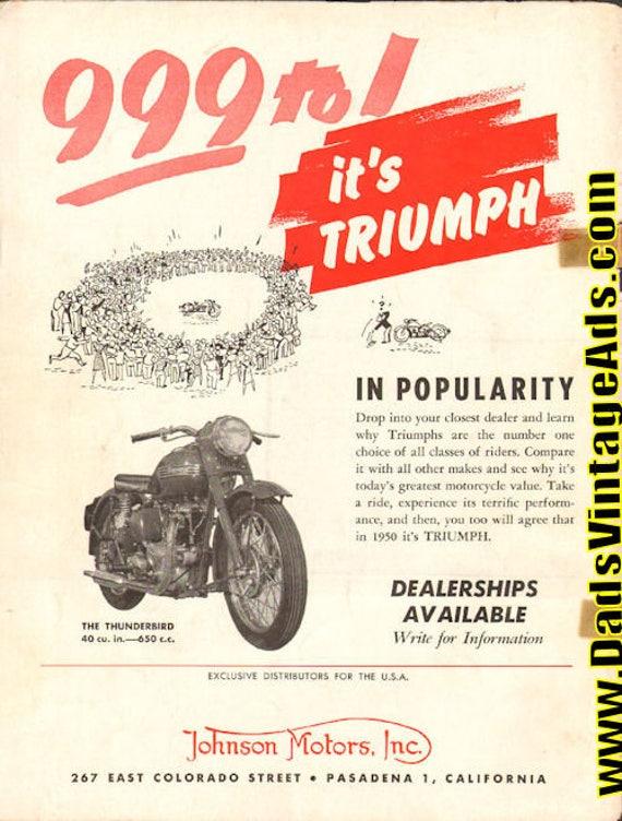 1950 Triumph Thunderbird 650cc Ad #e50ha05
