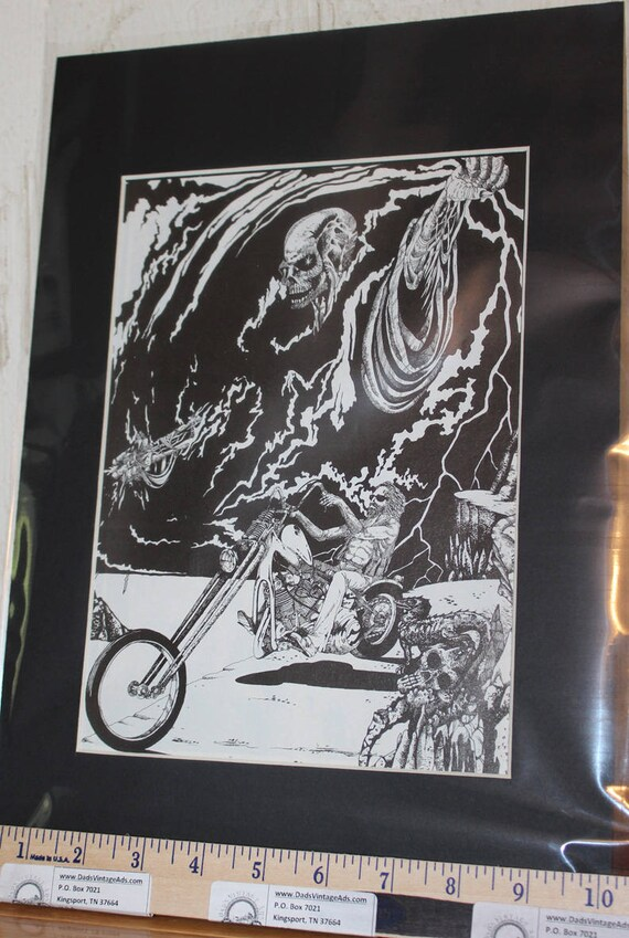 "Easyriders ''Bad Medicine"" by Daryl Hutchinson Matted Biker Motorcycle Art #0106ezrdhm"