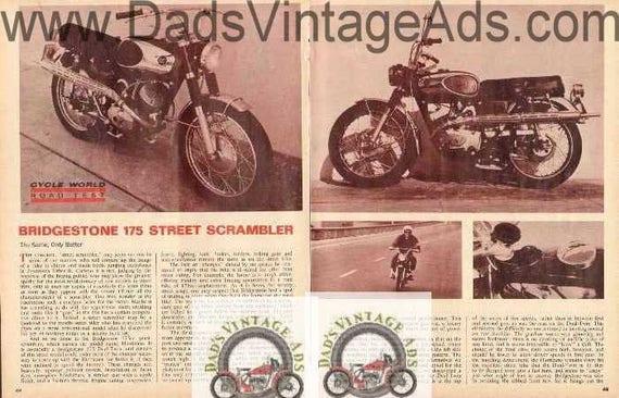 1967 Bridgestone 175 Street Scrambler Motorcycle Road Test 4-Page Photo Article #nav06