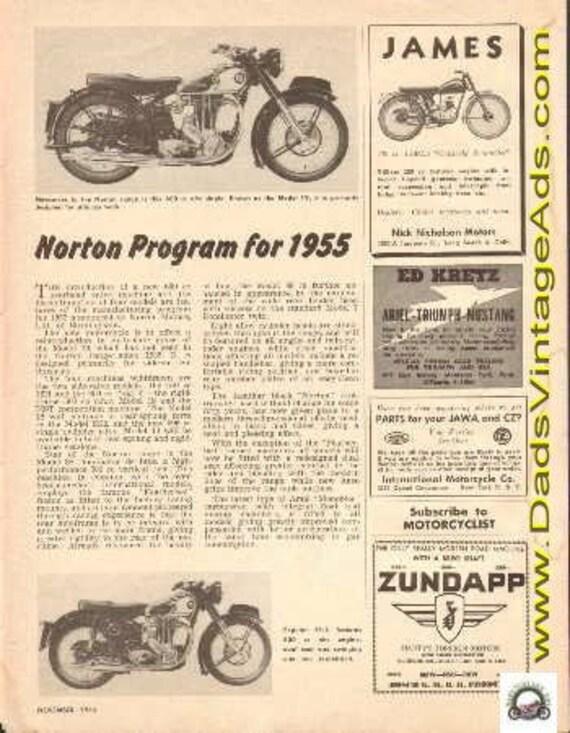1955 Norton Motorcycle Program 1-Page Article #t54ka02