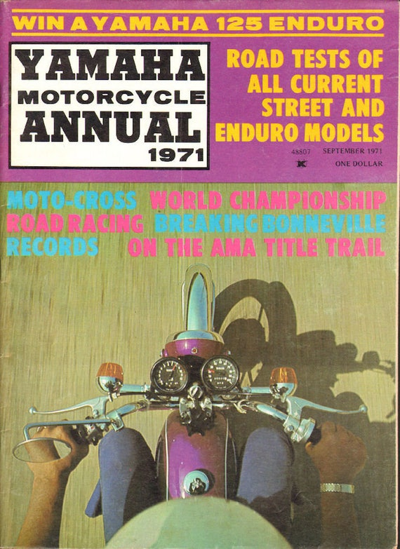 1971 September Yamaha Motorcycle Road Test Annual Magazine Back-Issue #mb834