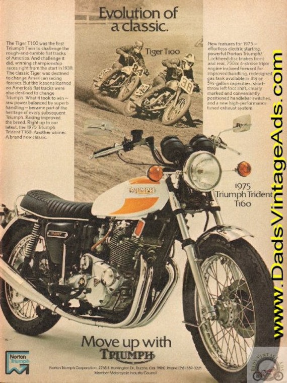 1975 Triumph Trident T160 Classic Motorcycle Ad #d75ga01