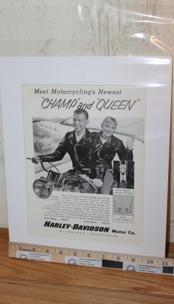 "1958 Harley-Davidson Leather Motorcycle Jackets 11"" x 14"" Matted Print Ad Art #5809amot05m"