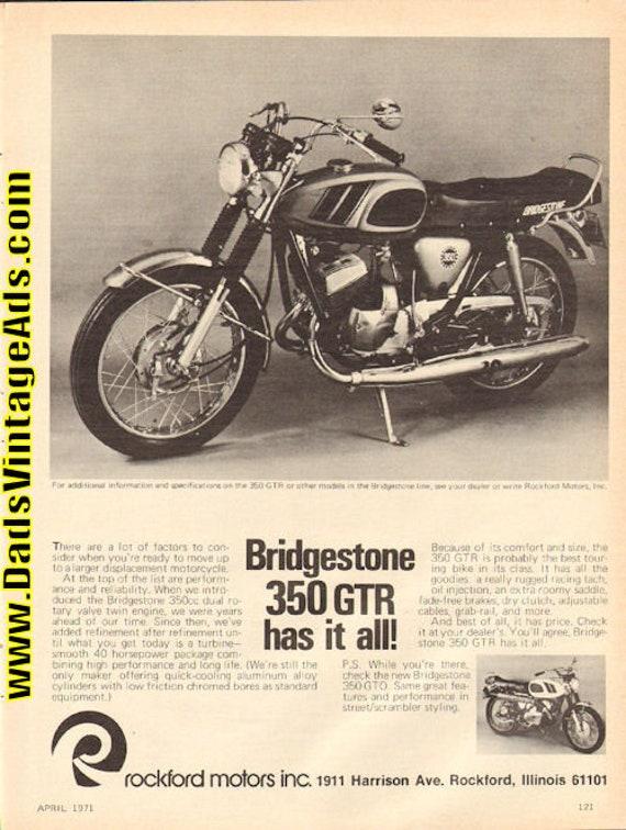 1971 Bridgestone 350 GTR Motorcycle Ad #d71da09