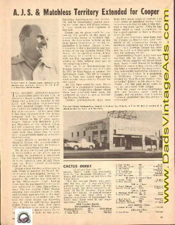 1954 A.J.S. & Matchless Territory Extended for Frank Cooper 1-Page Article #t54ka03