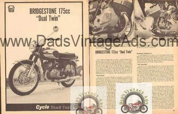 1966 Bridgestone 175 Dual Twin Motorcycle Road Test 3-Page Photo Article #nbt06