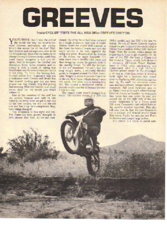 1969 Greeves 380 Griffon Motorcycle Road Test 4-Page Photo Article #i90