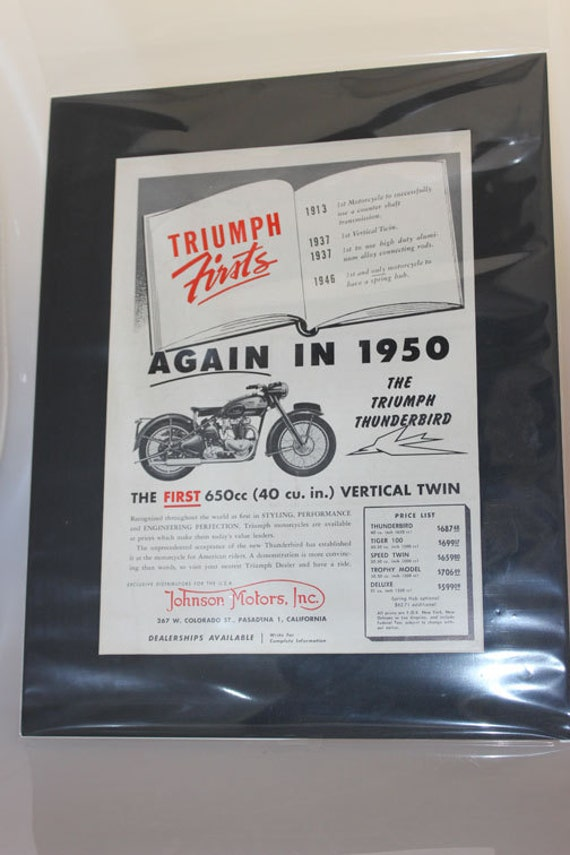 "1950 Triumph Thunderbird - The First 650cc Vertical Twin - 11"" x 14"" Matted Vintage Motorcycle Ad Art #e50da02m"