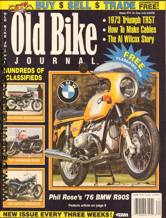 1996 July 30 Old Bike Journal #74 Magazine Back-Issue #960730obj