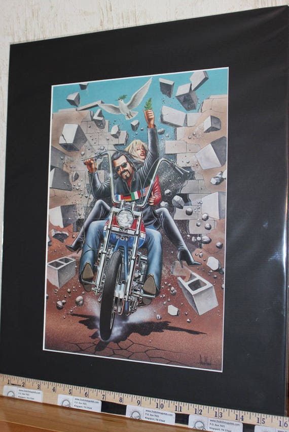 "David Mann ""Tear Down This Wall"" 16'' x 20'' Matted Motorcycle Biker Art #9401ezrxmb"