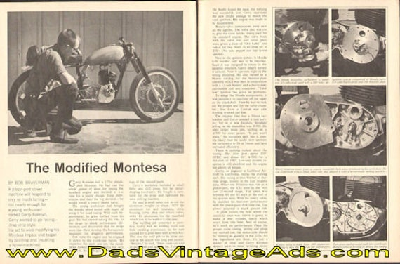 1967 Modified Montesa Impala motorcycle of Gerry Korman 2-Page Article #e67ba12