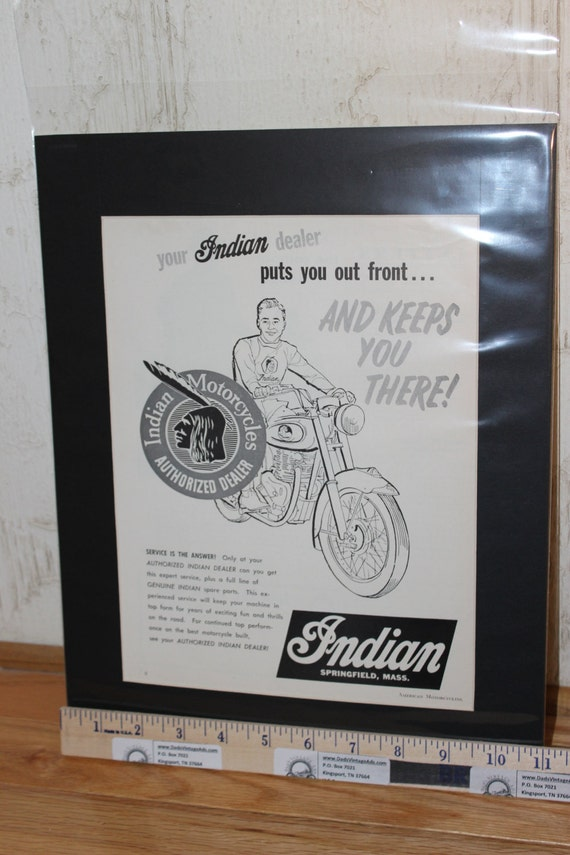 "1958 Your Indian Motorcycle Dealer 11"" x 14"" Matted Vintage Biker Ad Art #5807amot07m"