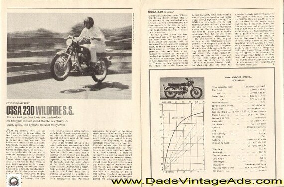 1968 Ossa 230 Wildfire S.S. Street Scrambler Motorcycle Road Test 4-Page Article #e68ka13