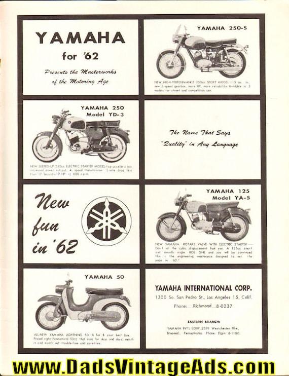 1962 Yamaha Motorcycles 1-Page Ad #6202amot02