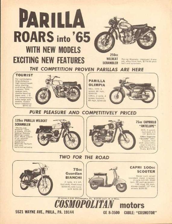 1965 Parilla Wildcat Tourist Olimpia Capriolo Motorcycle Ad #naz09
