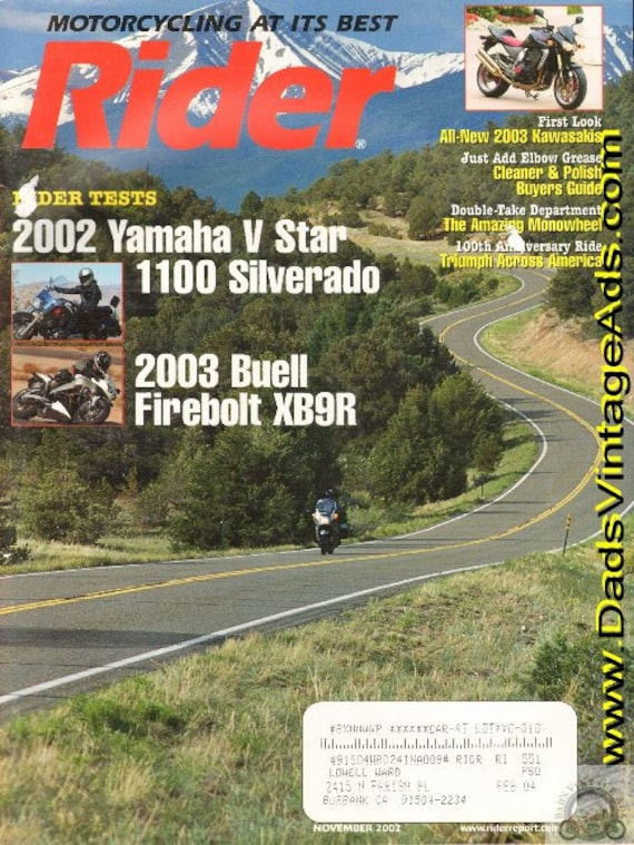 2002 November Rider Motorcycle Magazine Back-Issue #0211rdr