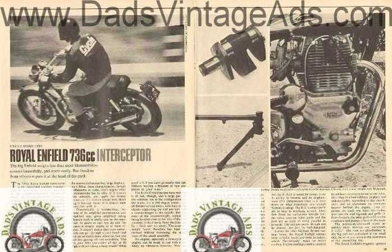 1968 Royal Enfield 736 cc Interceptor Motorcycle Road Test 5-Page Photo Article #nbo06