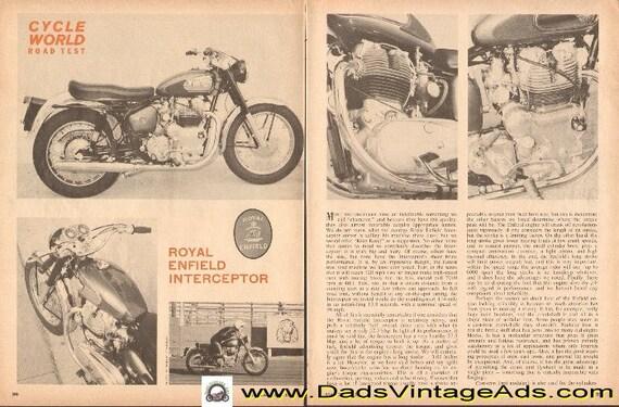1965 Royal Enfield Interceptor Motorcycle Road Test 4-Page Article #d65ca25