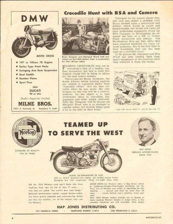 1955 Bryan Dempster Crocodile Fever on BSA Golden Flash 1-Page Article #5504mc09