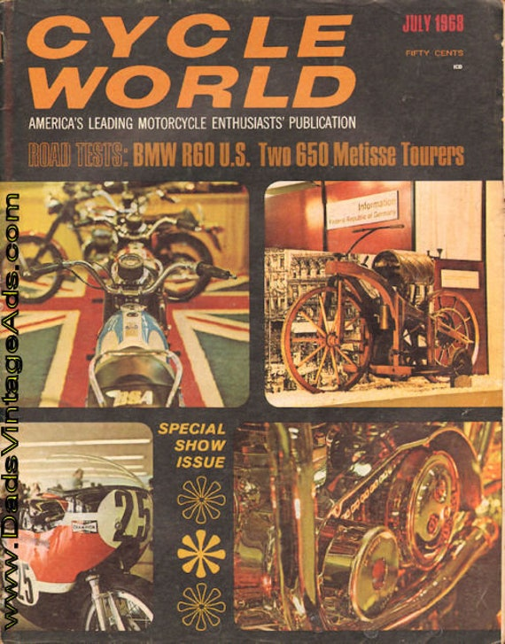 1968 July Cycle World Motorcycle Magazine Back-Issue #6807cw
