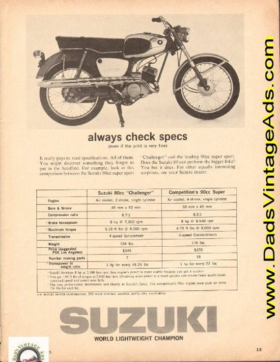 1965 Suzuki 80cc Challenger vs. the leading 90cc super sport Ad #d65ca14