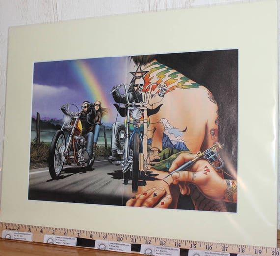 "David Mann ""Canvasback Tattoo"" 16"" x 20"" Matted Motorcycle Biker Art #9110ezrxmc"