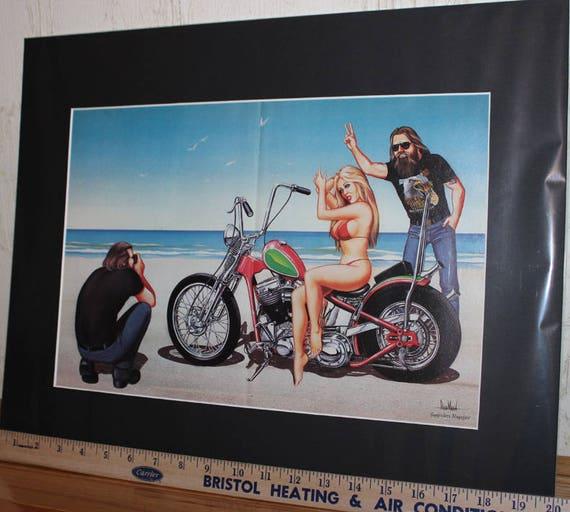 """David Mann """"Photo Bomb"""" 16'' x 20'' Matted Biker Art #8807ezrxmb"""