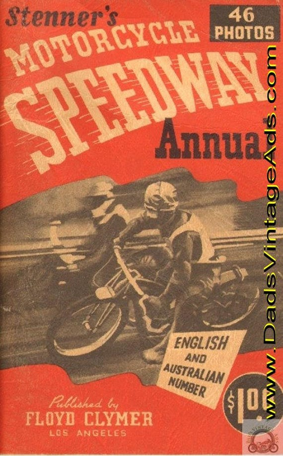1947 Stenner's Motorcycle Speedway Annual published by Floyd Clymer #mb275