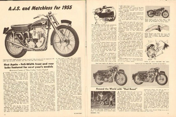 1954 A.J.S. & Matchless Motorcycles for 1955 2-Page Photo Article #m54