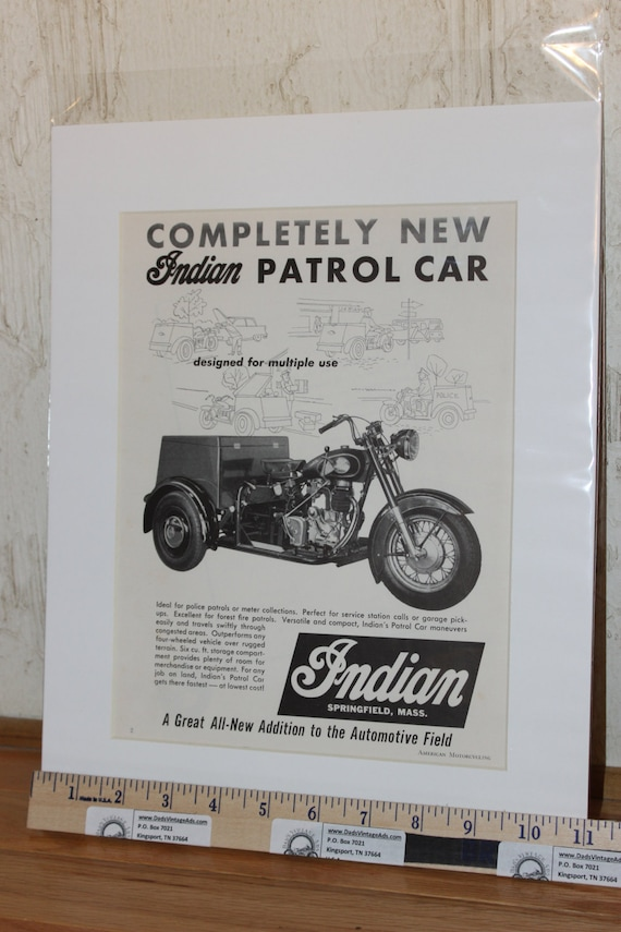"1959 Indian Patrol Car 11"" x 14"" Matted Vintage Motorcycle Ad Art #5901amot04"